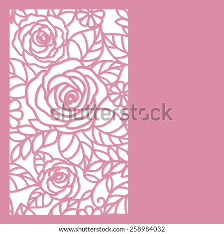 floral   card with roses - stock vector