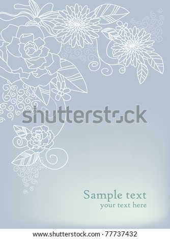Floral card with text in grey colors