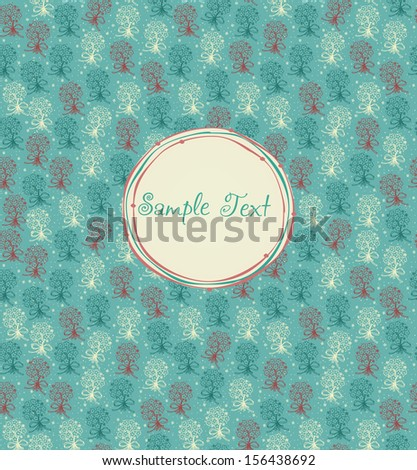 Floral childish greeting card with silhouettes bunches. Romantic colorful floral background with simple pattern and round doodle text frame.Template for design and decoration greeting card, invitation - stock vector