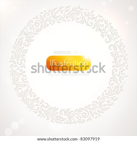 floral circle frame - stock vector