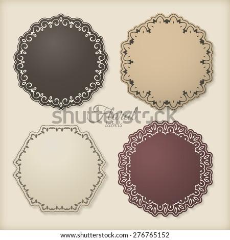 Floral circle frames, vintage labels - stock vector