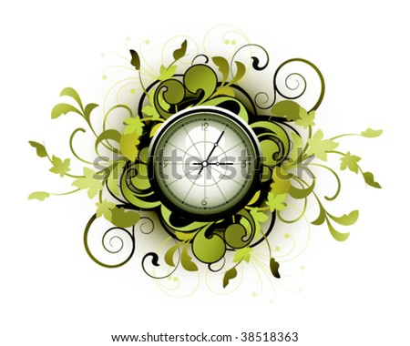 Floral clock with decorative elements - stock vector