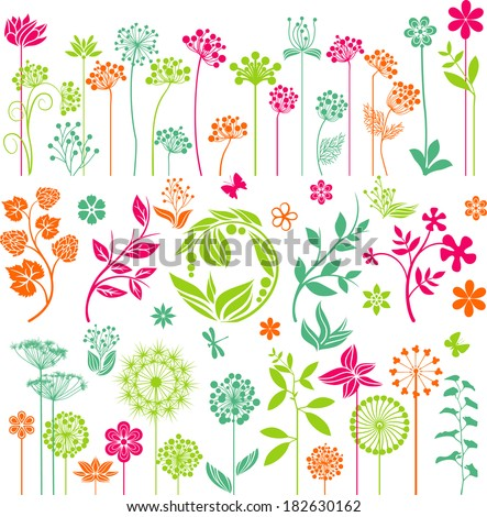 Floral collection - stock vector