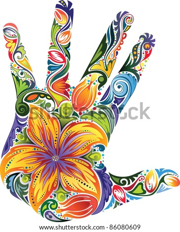 Floral colored palm - stock vector