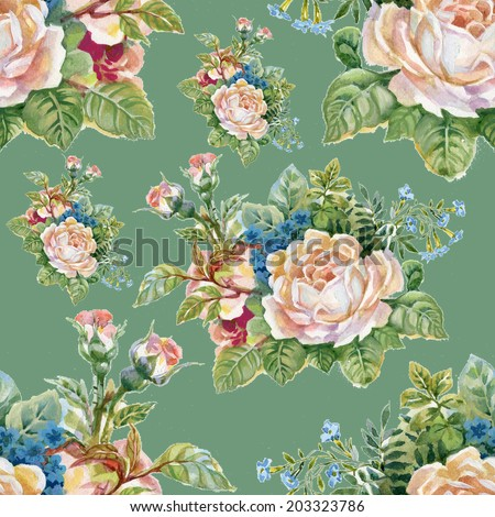 Floral colorful roses flowers seamless pattern on green background vector - stock vector