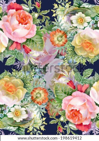 Floral colorful spring flowers seamless pattern on black background vector - stock vector