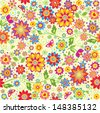 Floral colorful wallpaper. - stock vector