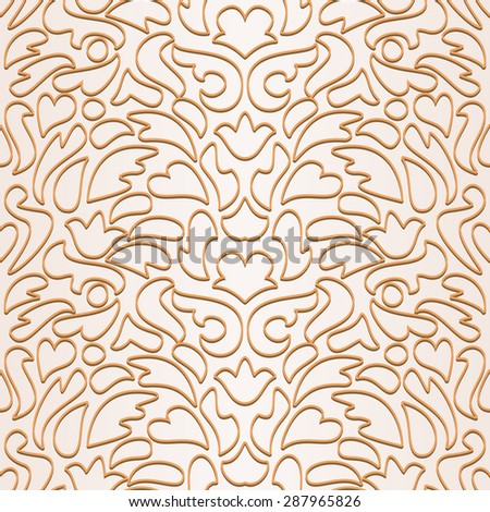 Floral contour pattern. Seamless abstract ornamental background. Vector illustration