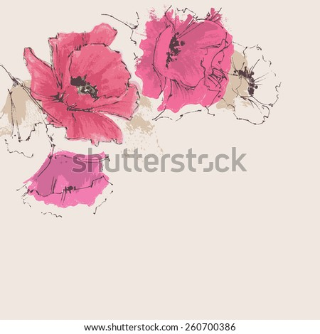 Floral corner decoration, poppies - stock vector