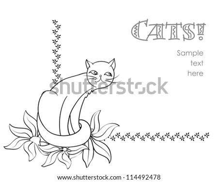 Floral corner element with sitting cat on white, stylized hand drawn vector background