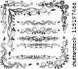 floral corners and borders - vector set - stock vector