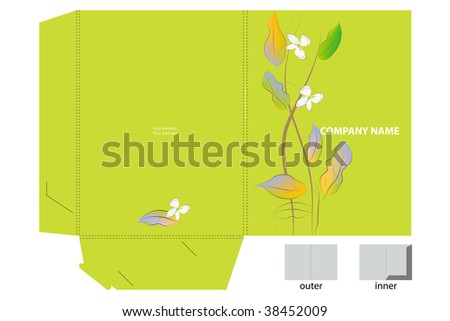 Floral corporate folder with die cut.