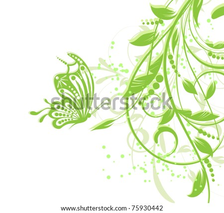 floral creative decorative abstract background with butterfly