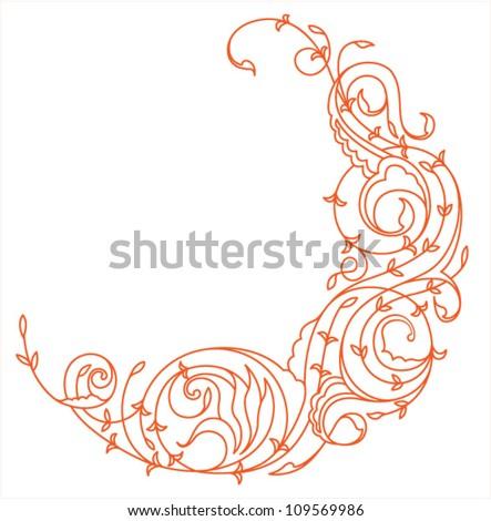 Floral Crescent Moon - stock vector