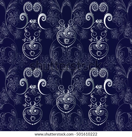 Floral Damask Dark Blue Vector Seamless Pattern Background Wallpaper Illustration With 3d White Flowers Leaves