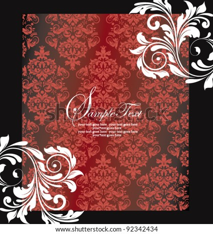 FLORAL DAMASK INVITATION CARD - stock vector