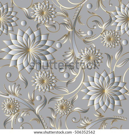 Floral Damask Light Vector Seamless Pattern Background Wallpaper With Vintage Decorative Volumetric 3d White Flowers Leaves
