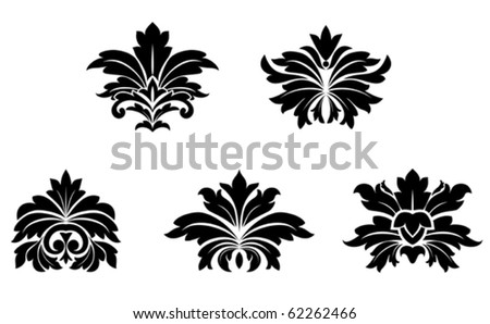 Floral damask patterns isolated on white for design. Jpeg version also available - stock vector