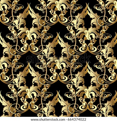 Floral Damask Seamless Pattern Black Vector Background Wallpaper Illustration With Antique Decorative Gold 3d