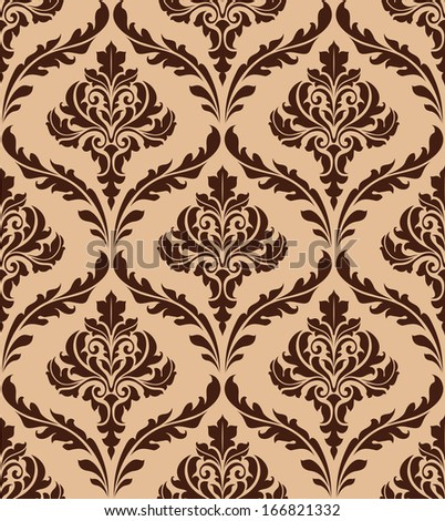 Floral damask seamless pattern for background and wallpaper design - stock vector