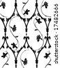 floral damask wallpaper - stock vector