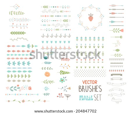 Floral decor set. Different vector brushes and decor elements. Isolated. - stock vector