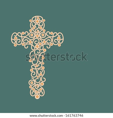 Floral decorated Christian Cross on green abstract background for Merry Christmas celebration.  - stock vector