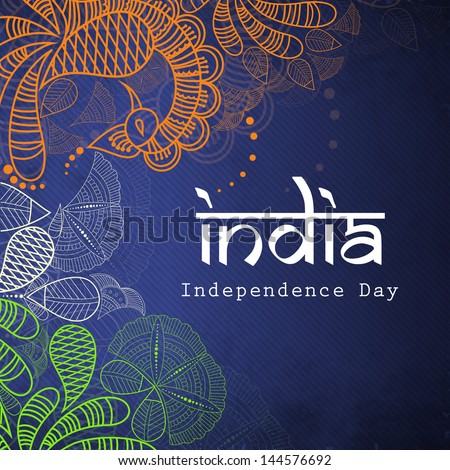 Floral decorated Indian Independence Day background. - stock vector