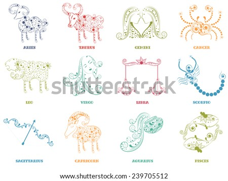 Floral decorated twelve Zodiac or Horoscope sign on beige background. - stock vector