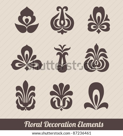 Floral Decoration Elements - Stylized Flowers - stock vector