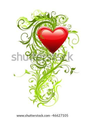 Floral decoration green vector. Red heart and curled elements.