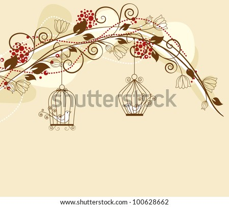 floral decoration par with caged birds - stock vector