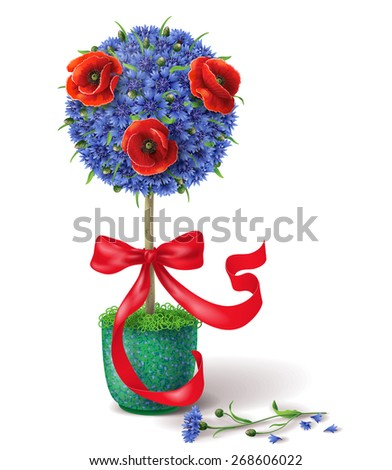 Floral decoration tree with blue cornflowers, red poppies  and ribbon in green pot. - stock vector