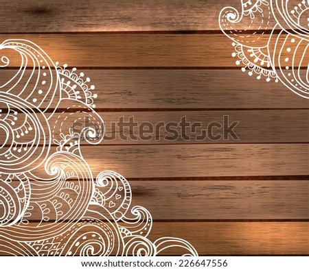 Floral Decorations for beautiful Holiday design, Christmas and New Year illustration over wooden background, Vector - stock vector
