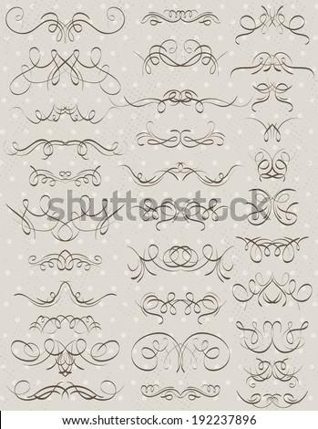 floral decorative borders, ornamental rules, dividers, vector - stock vector