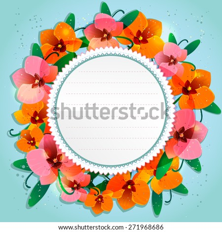 Floral decorative card with orchid and place for your text, EPS10 - stock vector