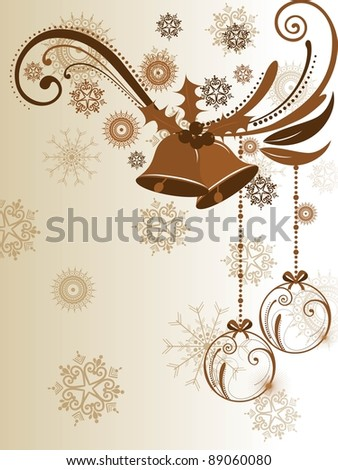 floral decorative design with jingle bells having snowflakes in light brown color for Christmas & other occasions. - stock vector