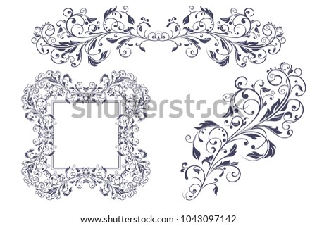 Floral decorative frame ornaments wedding invitation stock vector floral decorative frame and ornaments wedding invitation decoration vector illustration isolated on white background junglespirit Image collections
