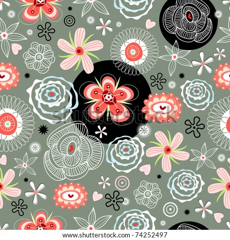 floral decorative pattern - stock vector