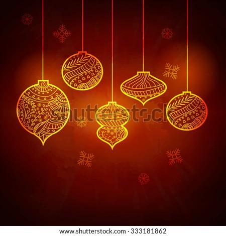 Floral design decorated shiny hanging Xmas Balls on Snowflakes decorated glossy background for Merry Christmas celebration.