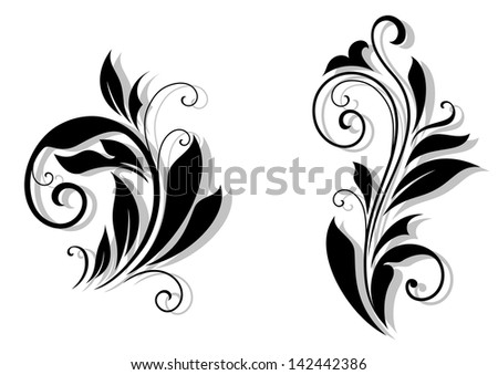 Floral design elements and shapes on white background. Jpeg version also available in gallery  - stock vector