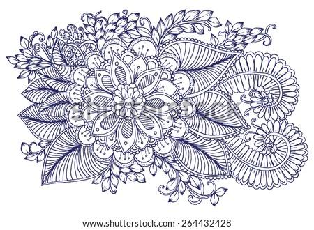 floral design elements doodle flowers zentangle stock