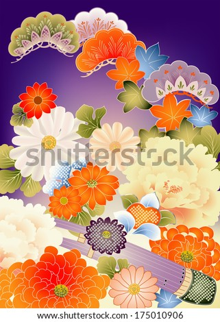 Floral design elements from vintage kimono - stock vector