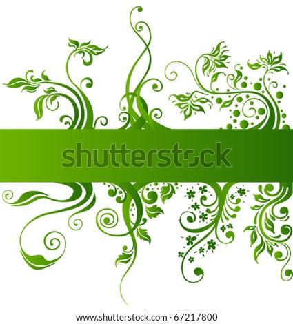 Floral design elements, green vector plants - stock vector