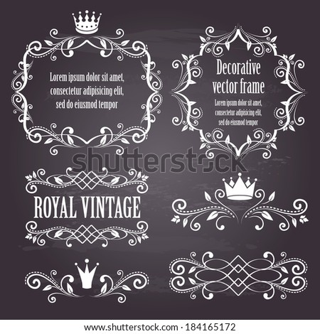 Floral design elements, ornamental vintage frames with crowns in white color. Page decoration. Vector illustration. Isolated on chalkboard background. Can use for birthday card, wedding invitations.  - stock vector