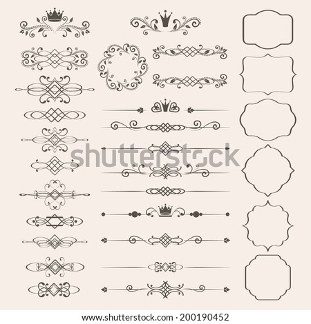 Floral design elements set, ornamental vintage frames with crowns in brown color. Page decoration. Vector illustration. Isolated on beige background. Can use for birthday card, wedding invitations.  - stock vector
