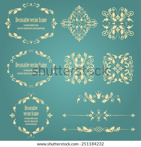 Floral design elements set , ornamental vintage objects, frames and dividers in beige color. Vector editable illustration. Isolated on blue background. Can use for birthday card, wedding invitations  - stock vector