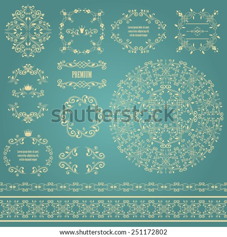 Floral design elements set, vintage frame, borders and round pattern in beige color. Page decoration. Vector illustrations. Isolated on blue background. Can use for birthday card, wedding invitations - stock vector