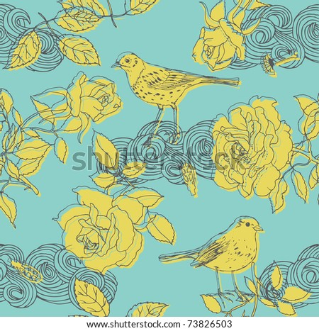 floral design pattern with roses and birds - stock vector