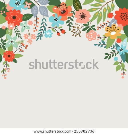 floral design, place for your  text - stock vector